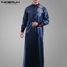 INCERUN hommes islamique musulman Caftan Vintage à manches longues col montant imprimé Robes Abaya arabe dubaï hommes Jubba Thobe Caftan S-5XL
