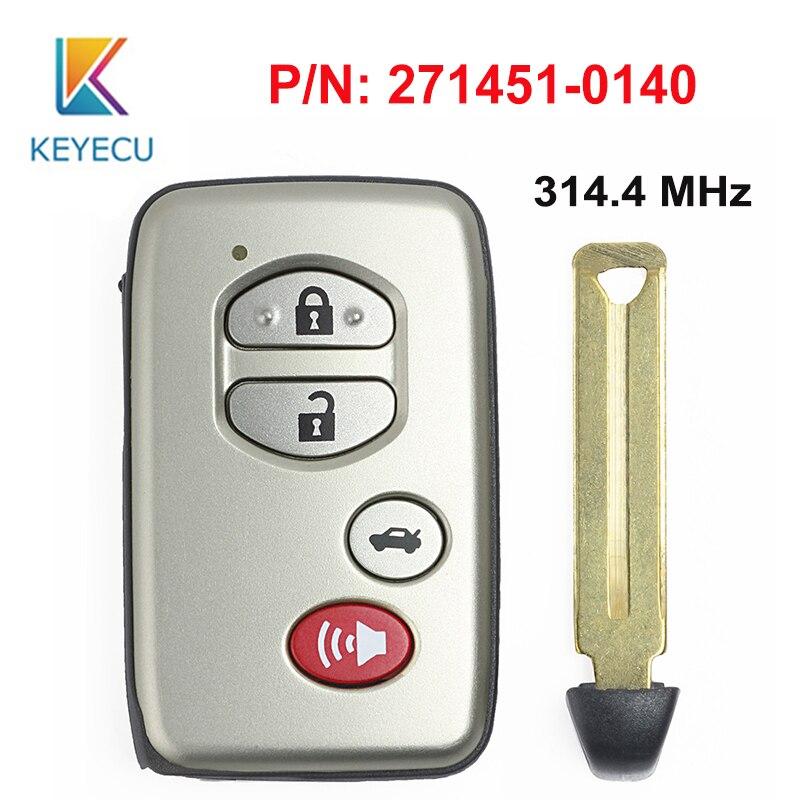 KEYECU Смарт дистанционные брелки для ключей брелок 4 кнопки 314,4 МГц для Toyota Avalon Carmy 2007 2008 2009 FCC ID: HYQ14AAB P/N: 271451 0140