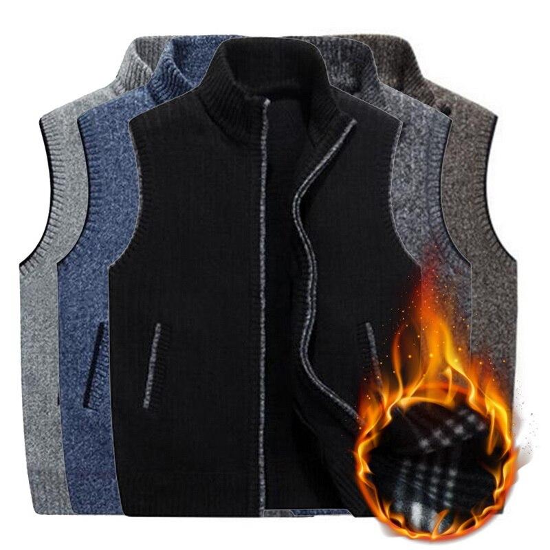 New Arrival Mens Winter Wool Sweater Vest Mens Sleeveless Knitted Vest Jacket Warm Fleece Sweatercoat Plus Size