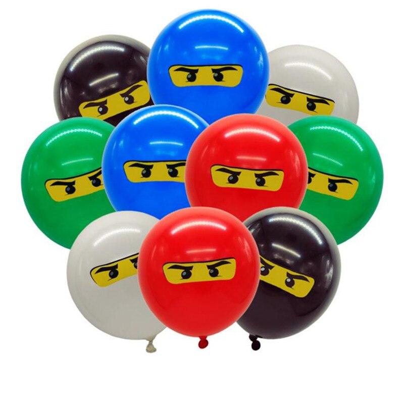 10 pçs/lote 12 polegada meninos crianças ninjago tema festa de aniversário balão látex ninjago ballons festa utensílios de mesa do chuveiro do bebê suprimentos