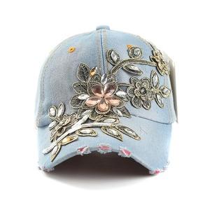 LVTZJ Snapback Hat Baseball-Cap Rhinestone Floral Women Denim Hip-Hop-Hats Summer Cap