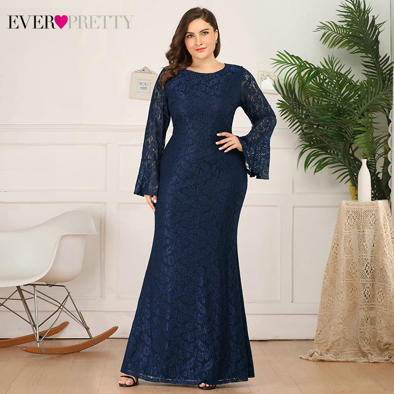 Plus Size Lace Evening Dresses Ever Pretty Flare Sleeve O-Neck See-Through Elegant Mermaid Party Gowns Abiye Gece Elbisesi 2020