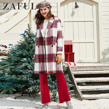 ZAFUL Women Coat Outerwear 2019 Winter Warm Christmas Clothing Plaid Double Breasted Wool Blend Coat Elegant Female Long Coats фото