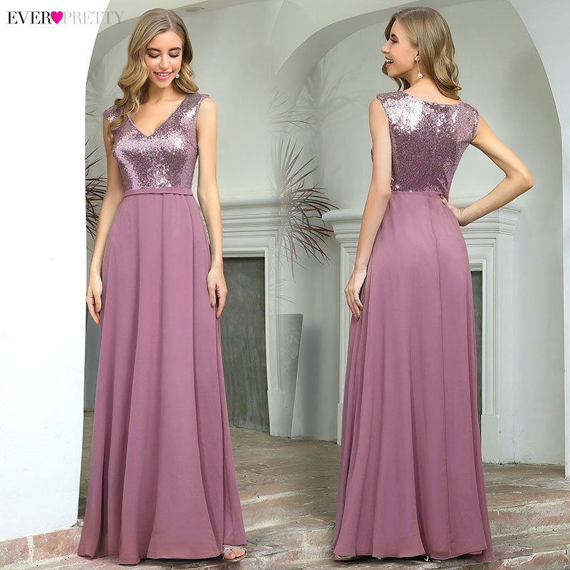 Ever Pretty Burgundy Sparkle Prom Dresses Long A-Line V-Neck Sequined Gala Dresses Sexy Party Gowns Robe Plissee Longue 2020