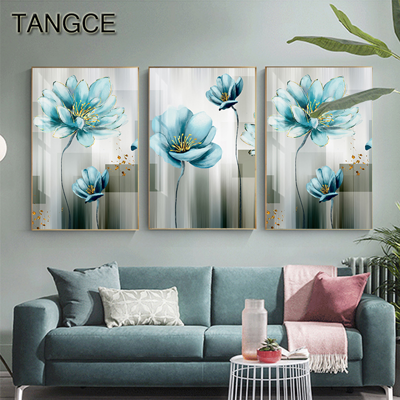 Abstract Blue Flower Canvas Painting Modern Baby Blue Wall Art Picture For Living Room Gold Poster Print Cuadros Salon Decoracio