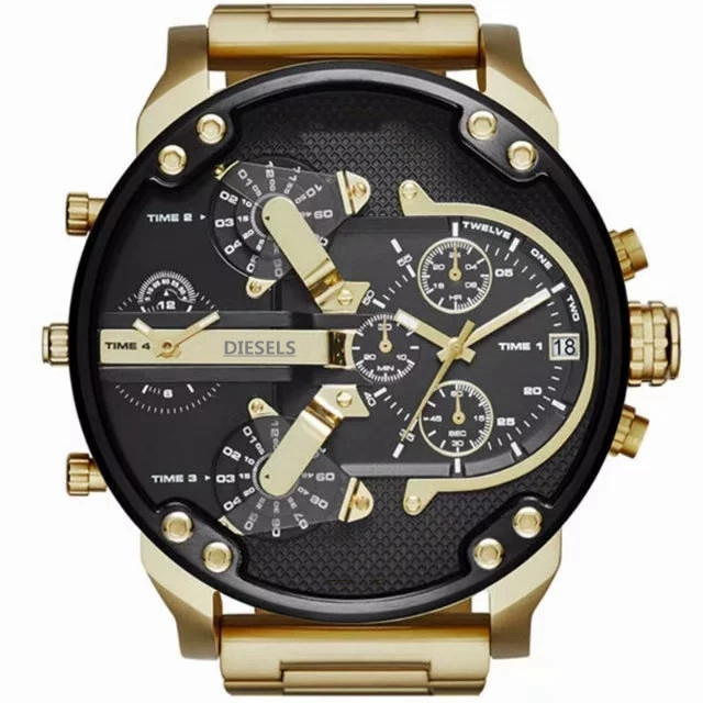 2019 NEW reloj Montre luxe Military Clock Leather Strap 53MM Big dial DZ Stainless steel Watch Men's Sport Quartz Diesels Watch