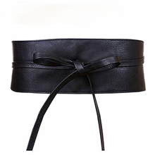 Women Bow Belt New Lace Up Pu Belts for Women Straps Wide Waistband Female Black Red Silver Dress Fashion