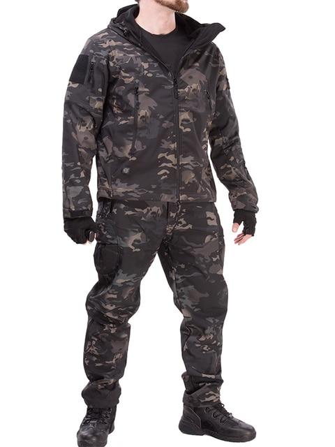 Army Waterproof Airsoft Hunting Clothes SoftShell Hunting Jacket Sets Tactical Jackets Pants Suit Shark Skin Military Coat Pants 5