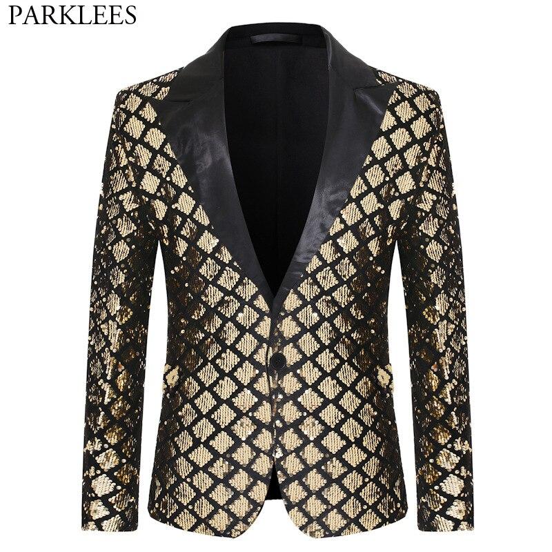 Блестящая блестящая куртка на одной пуговице, Мужской Блейзер, золотистый клетчатый смокинг в стиле пэчворк, мужской блейзер для ночного клуба, свадебной вечеринки, сценические костюмыПовседневные пиджаки   -