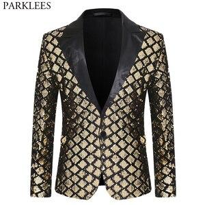 Image 1 - Parlak pullu Glitter bir düğme ceket erkekler Blazer altın ekose Patchwork smokin Blazer erkek gece kulübü düğün parti sahne kostümleri