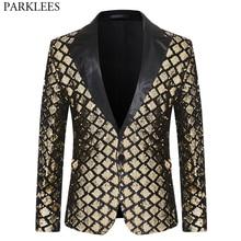Shiny Sequin Glitter One Button Jacket Men Blazer Gold Plaid Patchwork Tuxedo Blazer Male NightClub Wedding Party Stage Costumes