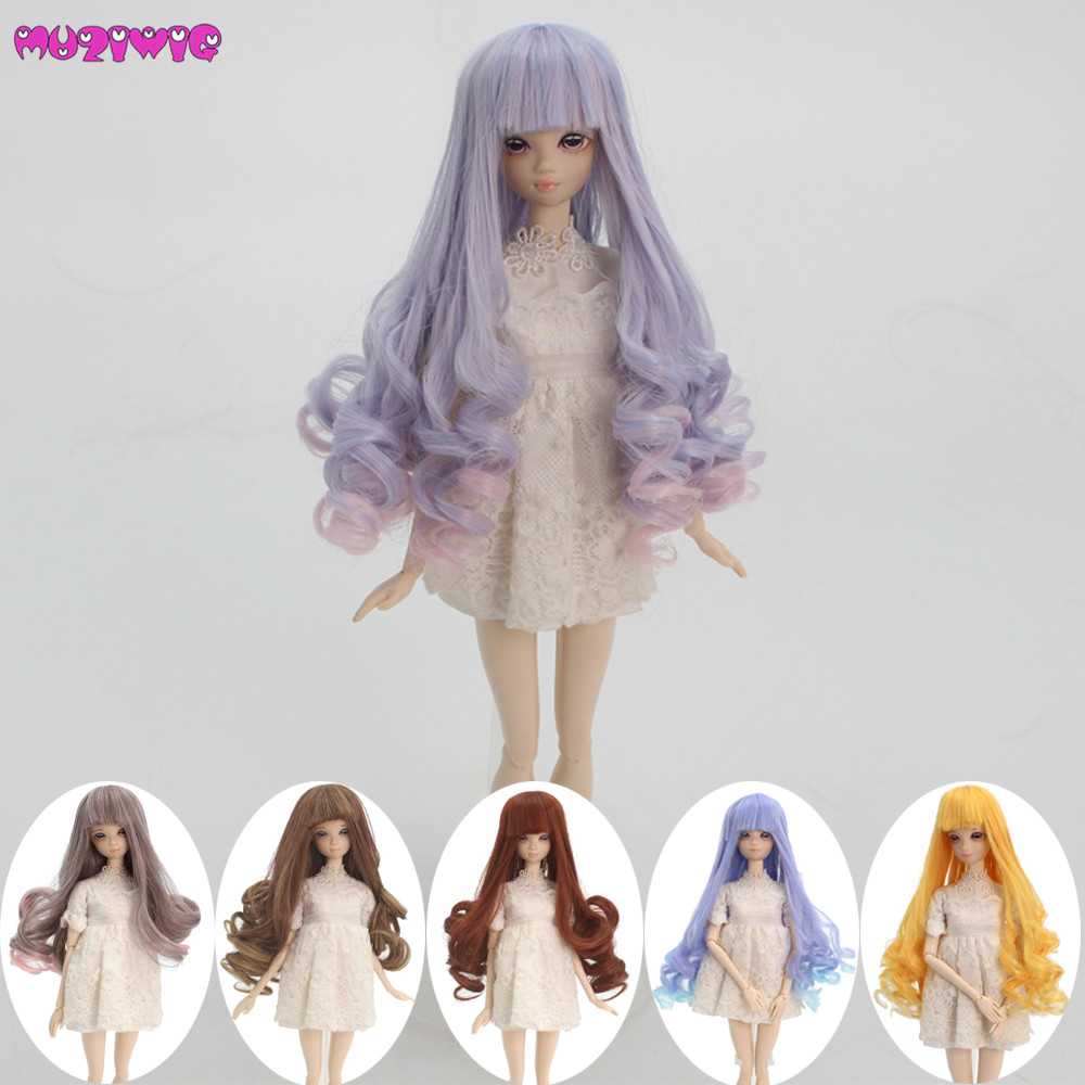 1/12 Doll Hair Heat Resisitant Fiber Curly Wigs For BJD SD Dolls With 12.5-14cm Head Circumference