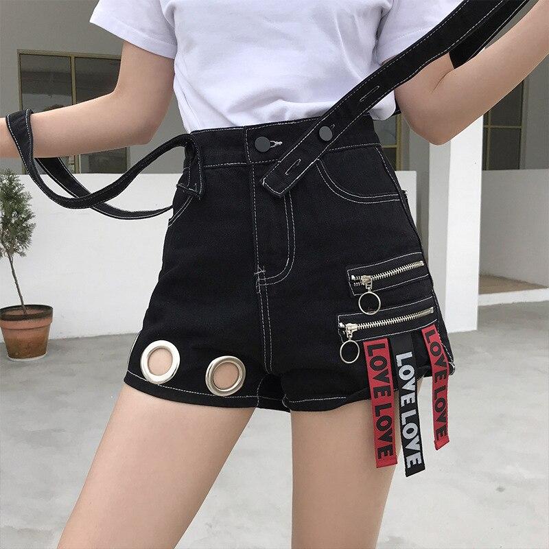 European And American Style Strap Denim Shorts Female Personality Metal Zipper Ring Pocket Plaid Stitching 2019 Shorts 50cs