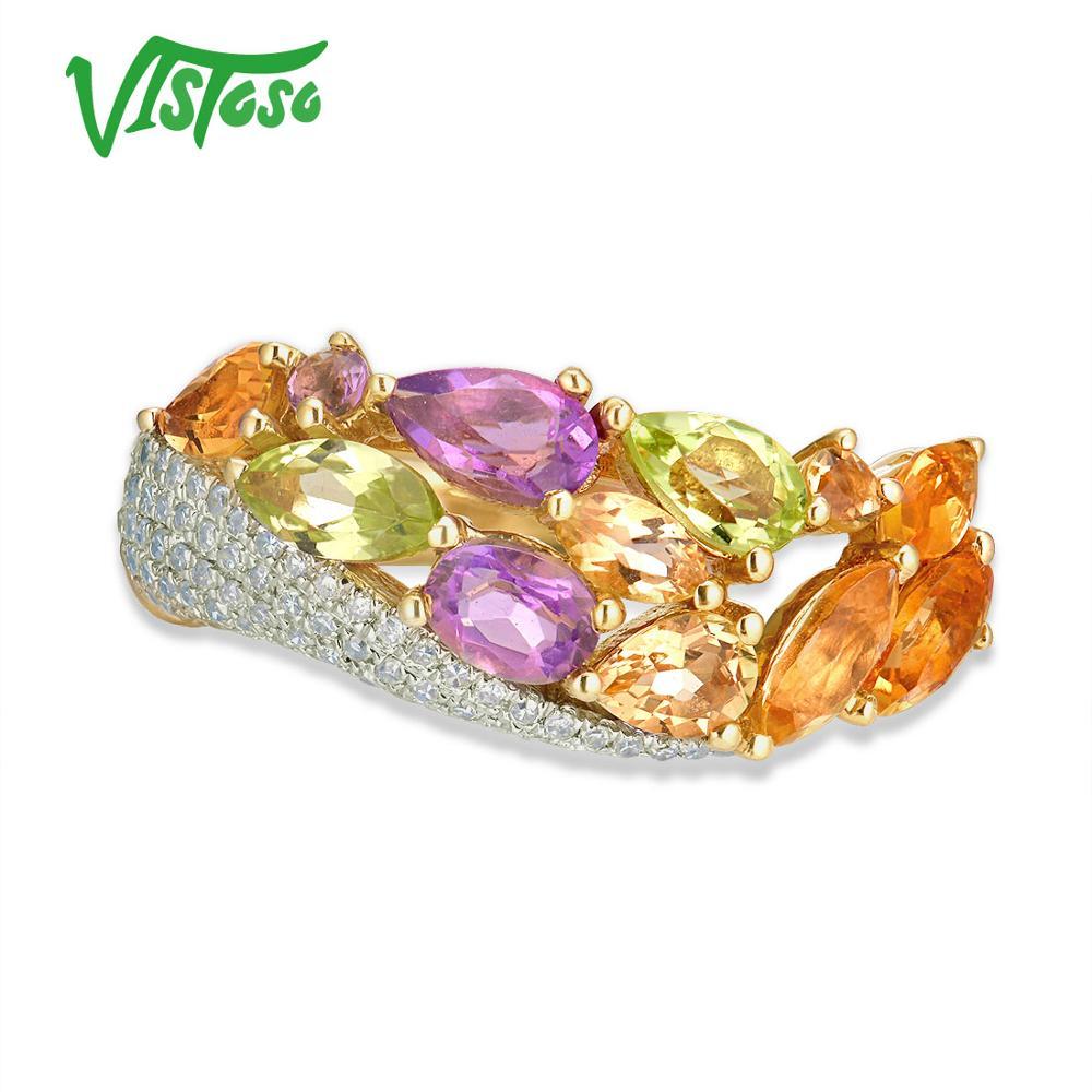VISTOSO Echt 14K 585 Geel Goud Fonkelende Diamant Fancy Citrien Amethist Peridot Dame Ring Anniversary Chic Fijne Sieraden-in Ringen van Sieraden & accessoires op  Groep 2