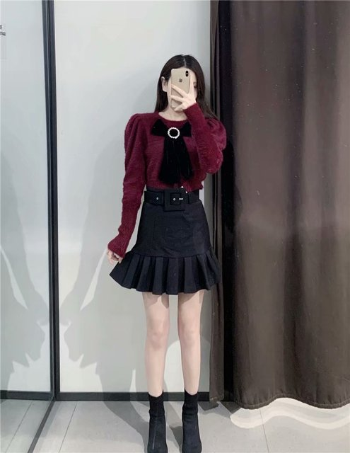 New women basic black mini skirt high waist belt back zipper hem pleated skirt solid fashion female casual skirts mujer QUN547 3