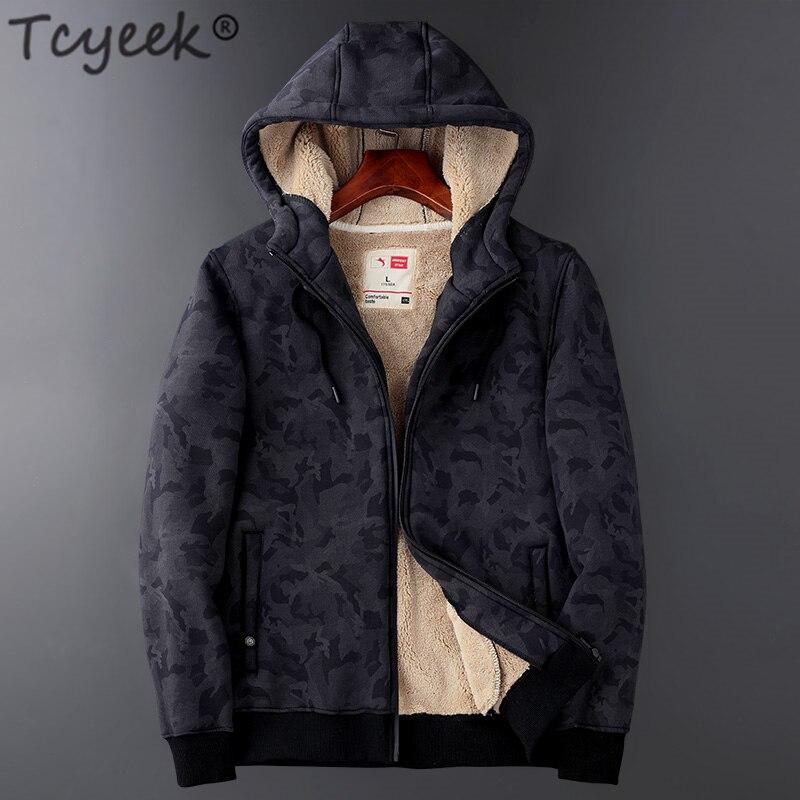 Tcyeek Плюс размер зимняя мужская толстовка с капюшоном одежда 2019 уличная мода мужчины s толстовка теплая флисовая куртка Толстовка Sudadera пальт...