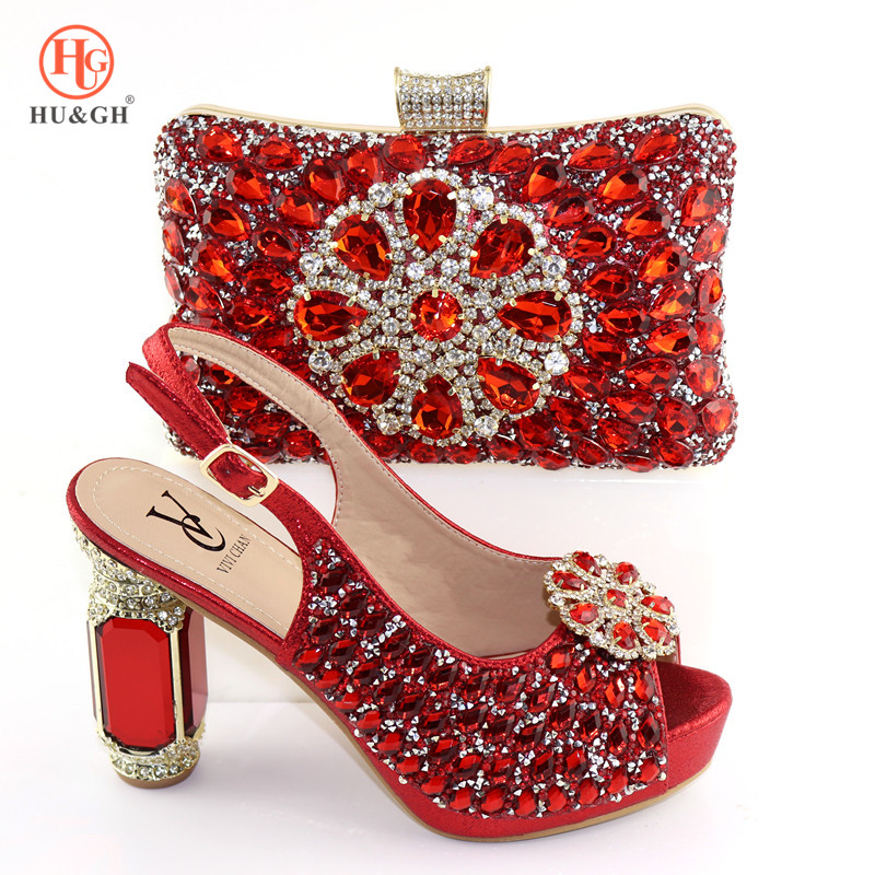 Red Color Crystals Italian Shoe and Bag To Match Shoes with Bag Set Nigerian Shoes and Matching Bag African Wedding Shoes
