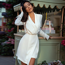 Adyce 2020 New Winter White manica lunga aderente Club Dress donna Sexy Deep scollo a V Button Celebrity Evening Runway Party Dress