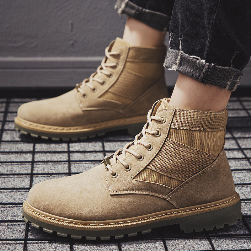 2019   men's boots autumn and winter retro Martin boots men's military boots trend tooling boots waterproof military boots