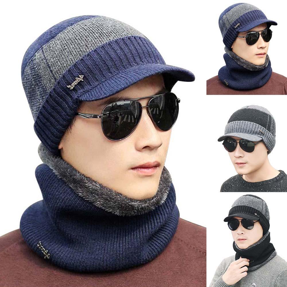 Black Friday 2Pcs/Set Fashion Men Winter Lined Warm Knitted Visor Beanie Hat Brim Cap Scarf Christmas Gift 2020