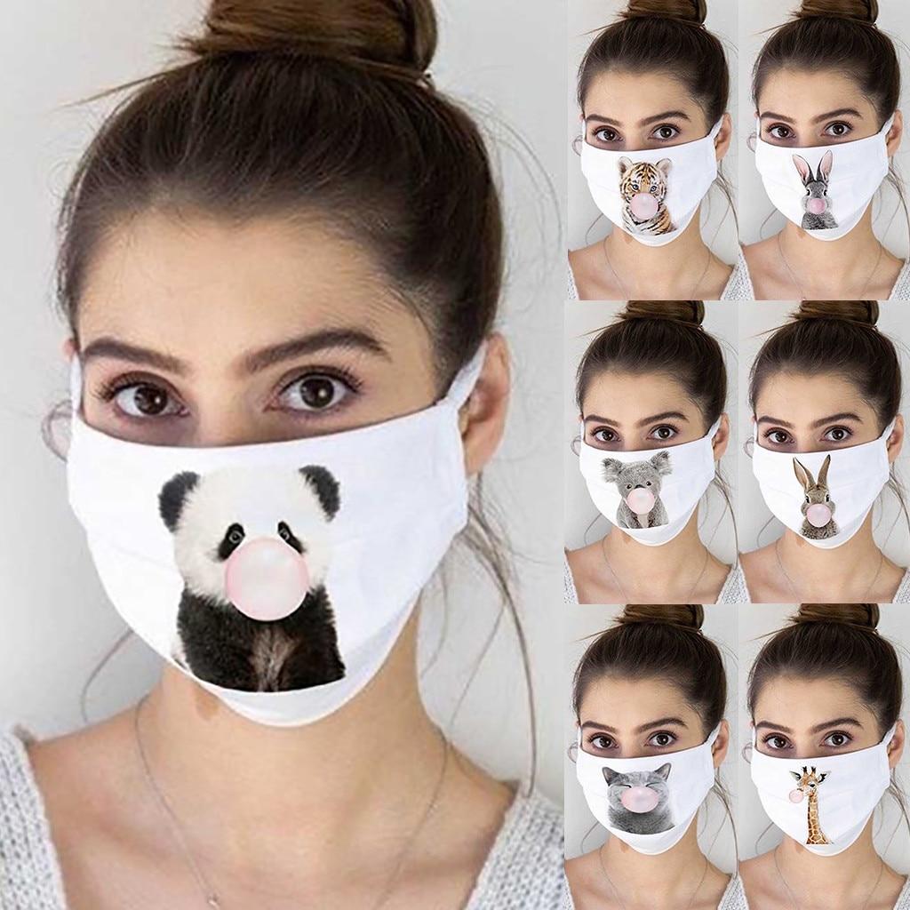 Женская Пылезащитная маска с принтом, Пылезащитная маска для лица, дышащая моющаяся Крышка для рта, мультяшная панда, хлопковые наушники дл...