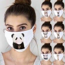 Anti máscara de impressão de poeira anti escape máscaras faciais à prova de poeira respirável lavável capa boca dos desenhos animados panda algodão adulto earloops