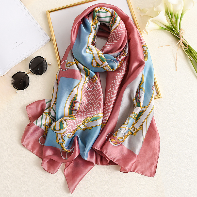 Long Scarf Women Designer Chain Print Silk Shawls And Wraps Lady Foulard Pashmina 2020 Spring Fashion Scarves