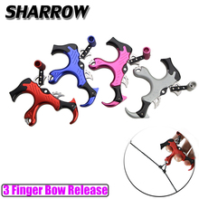 Archery Compound Bow Release Thumb Caliper Trigger 3 Finger Grip Bow Release Outdoor Hunting Shooting Bow And Arrow Accessories pro automatic archery bow release aids 3 or 4 finger thumb caliper trigger grip for compound bow hunting shooting accessories