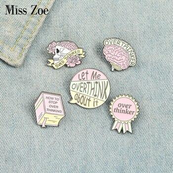 Overthinker Enamel Pin Custom Overthinking Award Brain Skull Book Brooches Bag Lapel Pin Cartoon Badge Jewelry Gift for Friends 1