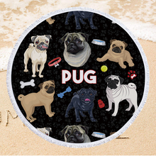 Cartoon Dogs Soft Microfiber Beach Towel 150cm Round Summer Swimming Bath Towel for Boys Girls Home Decor Wall Tapestry