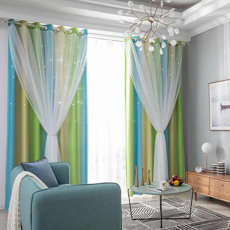 Rideau occultant de style nordique pour salon, chambre à coucher, rideaux dégradés, ajourés