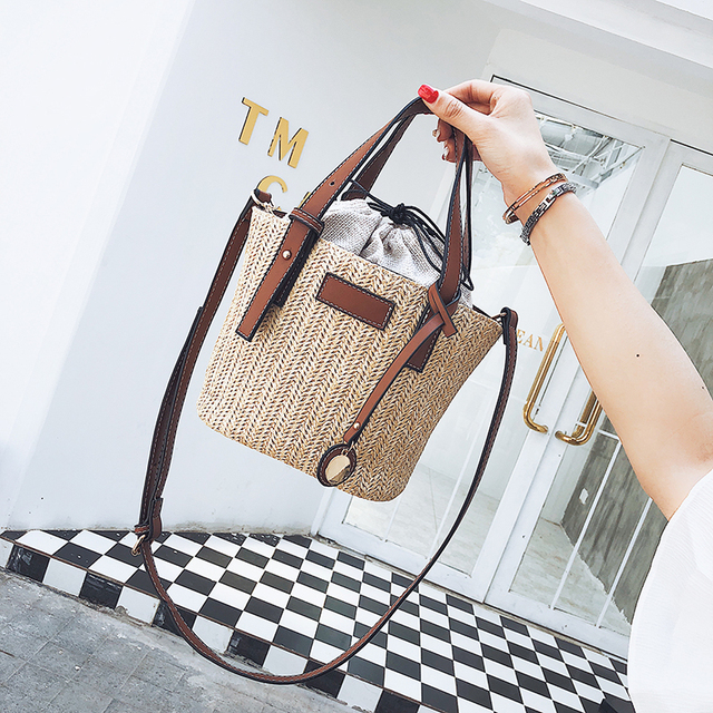 2019 women Handmade Handbag Vintage Retro Beach bag Straw Rope Knitted big Messenger Bag Lady Fresh Paper pack for Summer Tote