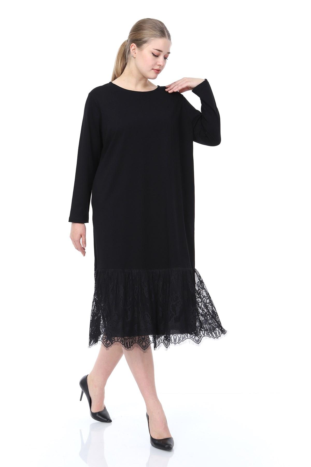 Women's Plus Size Long Sleeve Lace Detail Dress Black L1607