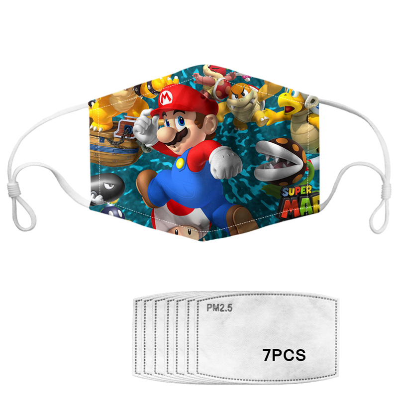 Fashion Game Mouth Mask With PM2.5 Filters Super Mario Pattern Face Masks For Kids Boys Girls Mouth Muffle Mascaras