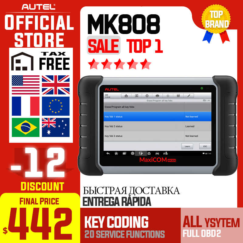 Autel Maxicom MK808 Obdii Automotive Scanner Immo Epb Sas Bms Tpms Dpf Service Diagnostic Tool MD802 Alle Systeem + Maxicheck pro