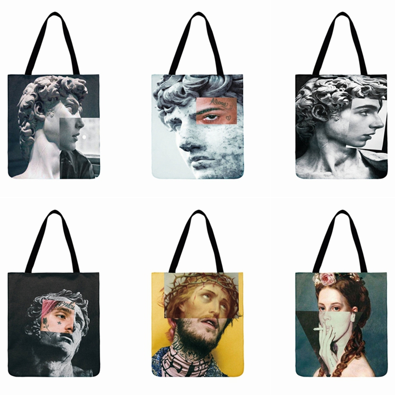Abstract Artistic Figures Printed Tote Bag Linen Fabric Bag Casual Totes Fashion Foldable Shopping Bag Outdoor Beach Bag Daily