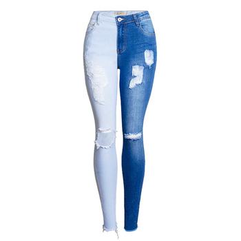 Dwukolorowe zgrywanie obcisłe dżinsy rurki kobiety nowe dżinsy typu boyfriend hiphopowy sweter dżinsy spodnie panelami Stretch dżinsy rurki spodnie tanie i dobre opinie COTTON spandex Pełnej długości Osób w wieku 18-35 lat JEANS BSI1264 WOMEN Hip Hop Plaid Zipper fly Kieszenie HOLE Myte