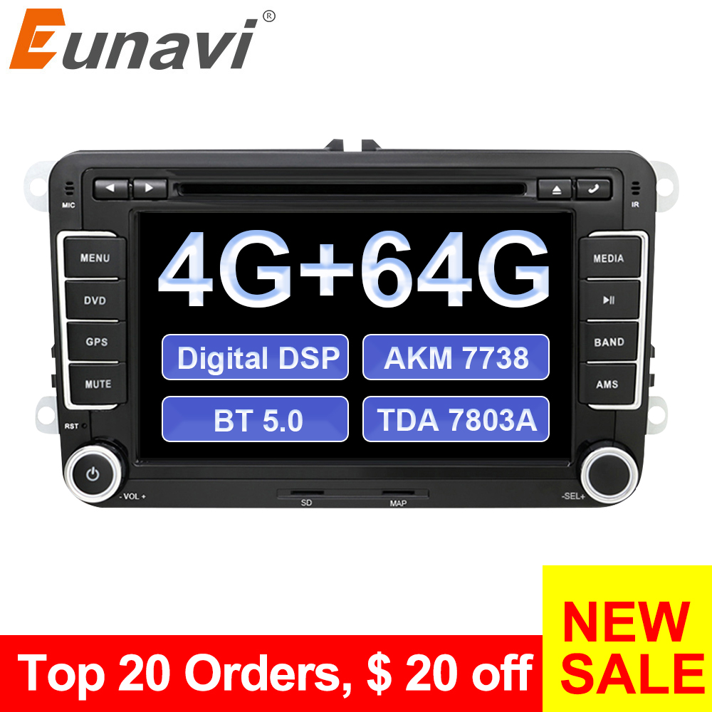 Eunavi 2 din Android 9 PX6 Car DVD Multimedia Radio Player GPS For VW GOLF 6 Polo Bora JETTA B6 PASSAT Tiguan SKODA OCTAVIA DSP image