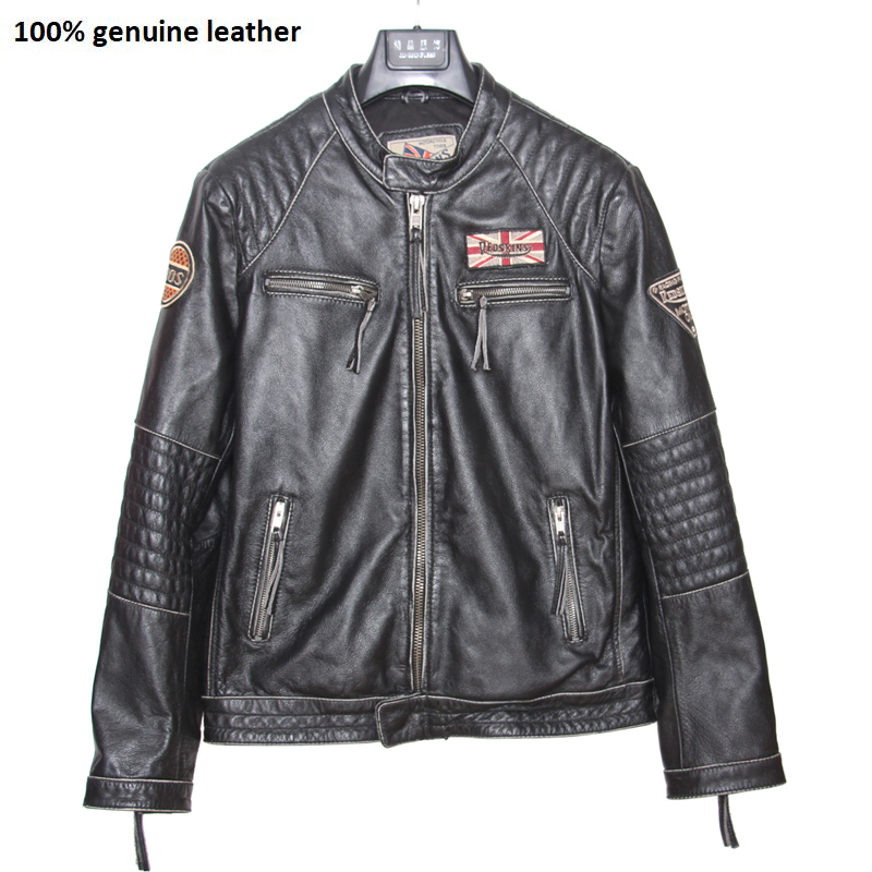Motorcycle Leather Jacket Men 100% Genuine Cowhide Leather Coat Men Slim Fit Bomber Moto Biker Leather Coat M101