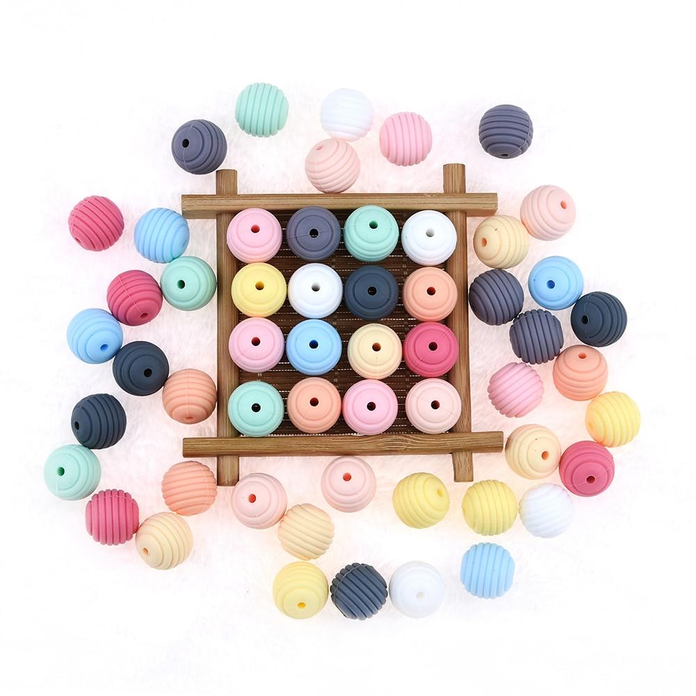 Happyfriends 10pcs Silicone Beehive Bead Contas Espiral de Silicone Food Grade BPA Livre Acessórios Jóias Dentição Mastigar Brinquedos