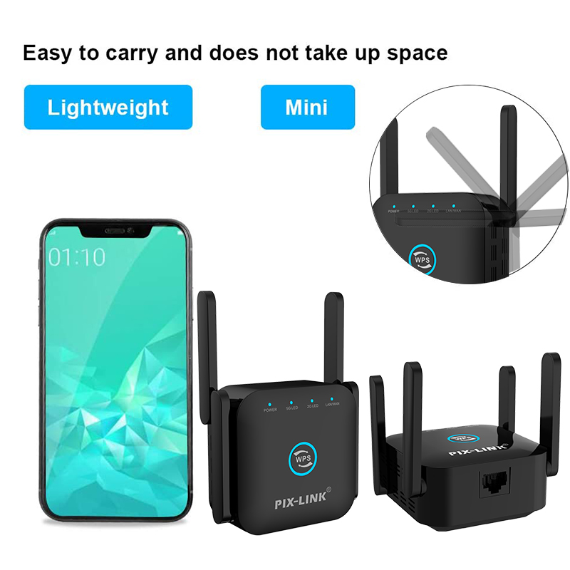 5G Wifi Repeater 5ghz Repeater Wifi 1200M Router Wifi Extender Long Range 2.4G Wi Fi Booster Wi-Fi Signal Amplifier Access Point 6
