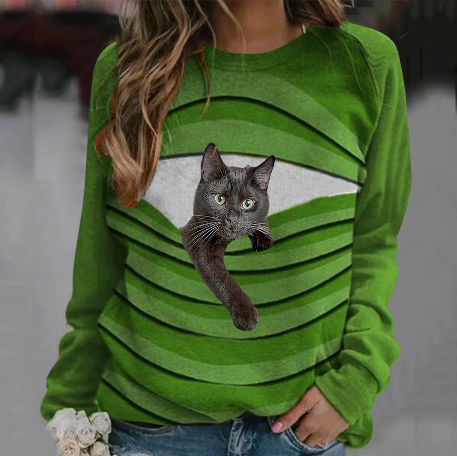 Camiseta de manga longa para mulheres camiseta de manga comprida bonito gato dos desenhos animados estampado topos para mulher mangas completas verde vermelho camisas de mujer elegantes