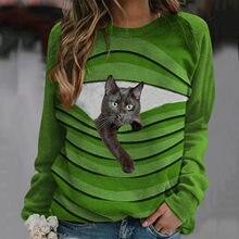 Футболка женская с длинным рукавом, смешная рубашка с милым мультяшным принтом кошки, элегантный топ с длинным рукавом, цвет зеленый/красны...
