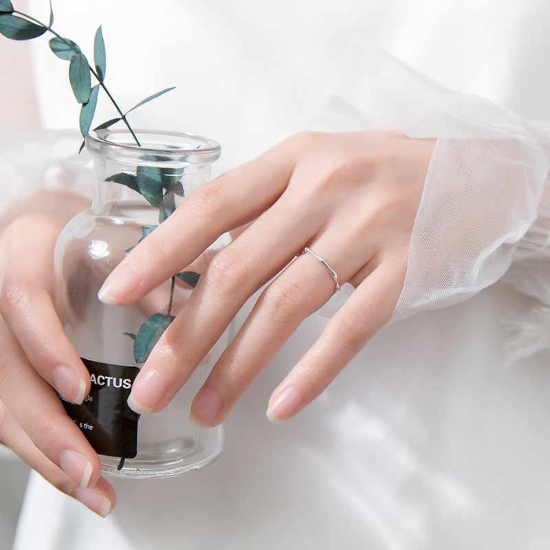 INZATT จริง 925 เงินสเตอร์ลิงไม้ไผ่แหวนเปิดสำหรับสตรีน่ารักเครื่องประดับ Minimalist อุปกรณ์เสริม 2019 ของขวัญ
