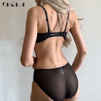 Classic Black Satin Brassiere Comfortable Half Cup Bra Set Women Lingerie Lace Thin Cotton Underwear Set Sexy Bras B C D Cup 2