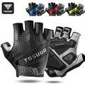 Велосипедные перчатки TOSUOD, Нескользящие, с открытыми пальцами, летние, дышащие, ударопрочные, для мужчин и женщин