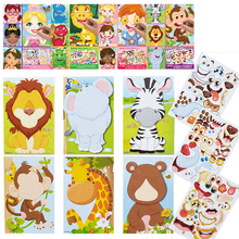 Kids DIY Stickers Puzzle Games Make-a-Face Princess Animal Dinosaur Assemble Jigsaw Children Recognition Training Education Toy cheap CN(Origin) 25cm 14cm 0 05 CH202030 1year princess animal friends dinosaur make a face and fun for kids 6 cardboards and 3 sheets sticker