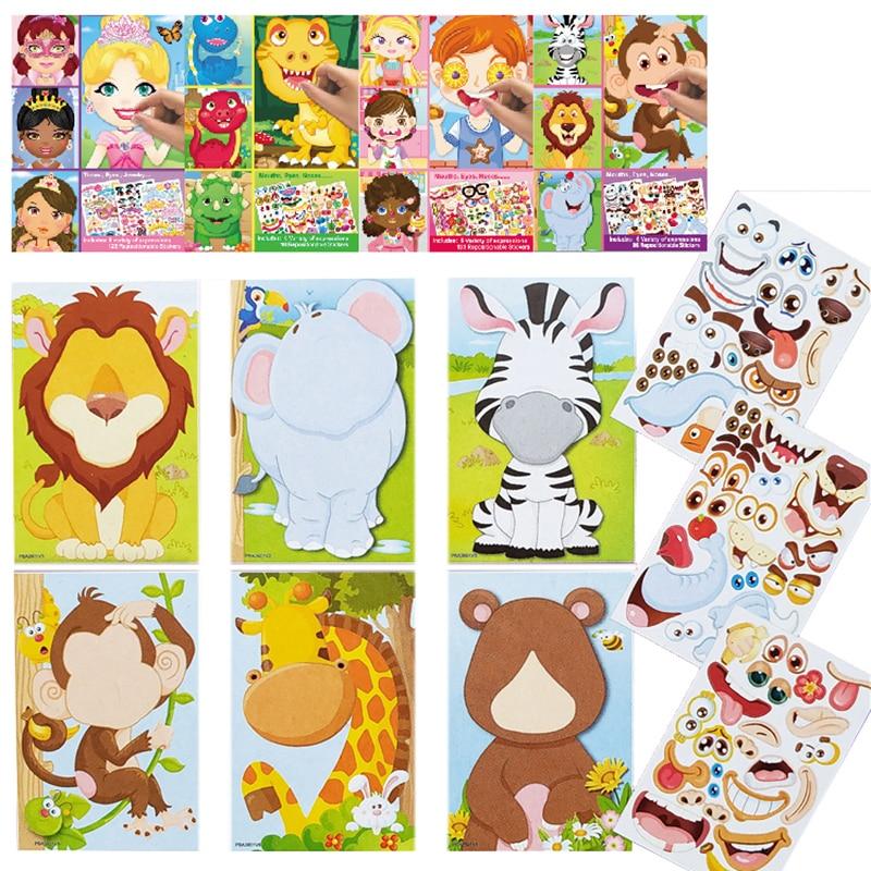 Детские наклейки-пазлы «сделай сам», игры, макияж-лицо, принцесса, животное, динозавр, сборная головоломка, детское распознавание, обучающая...