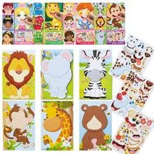 Autocollants DIY à motif animaux jeu éducatif pour enfant, stickers à thème, fais une grimace, princesse, puzzle, dinosaure, exercice d'identification,