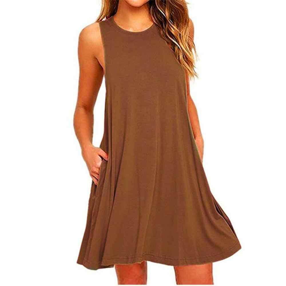 2019 летние вечерние платья без рукавов, повседневные платья для свиданий, женские свободные, S 2XL, большие размеры, Круглый круглый вырез, карман, одноцветное платье, женские платья